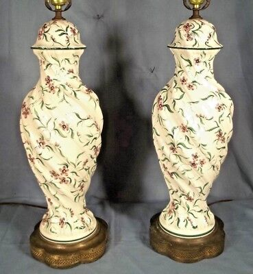 A Wonderful Pair Of Hand Painted Italian Porcelain Urn Lamps On Brass Bases