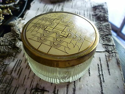 Vintage Vanity Jar Art Deco Old Powder Jar Boudoir Ribbed Glass Brass Enamel Lid