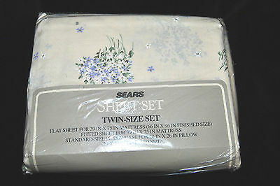 Vintage Twin-Size Sheet Set Sears, Roebuck  Co. Floral New Original Packing