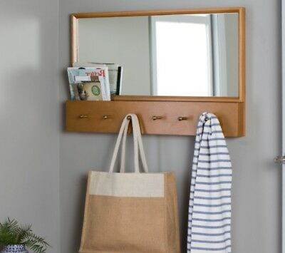 Wall Mirror Hat Coat Rack Mounted Entry Mid Century Style Modern Decor Hall Hook
