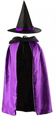 Meliya Kids Halloween Witches Cape And Hat Reversible Witch Cloak Witch Fancy