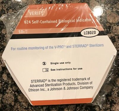 Steris Verify V24 Biological Self Contained Indicator LCB020 50ct New Unopened