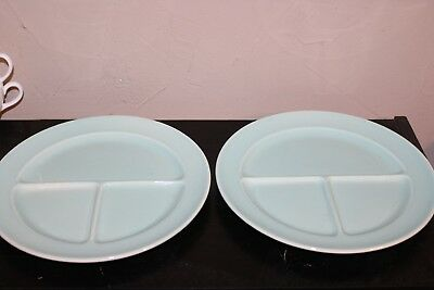 """(2)LuRay Pastels BLUE 10"""" Divided Dinner Plate ~ Compartment Excellent Condition"""