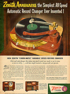 1950 vintage AD ZENITH COBRA Autmatic RECORD CHANGER Variable Speed 081015