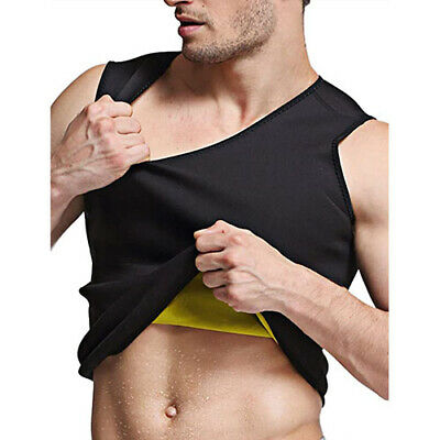 Men Shapewear Hot Sweat Belt Waist Cincher Workout Top Shirt for Weight Loss US