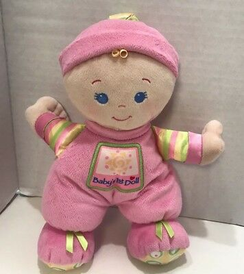 """Fisher Price Baby's 1st Doll Plush 9"""" Stuffed Pink Blonde 2008 First"""