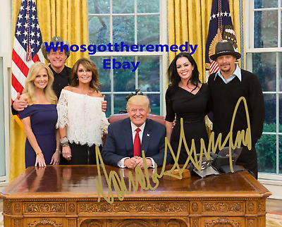 Donald Trump Kid Rock Palin Pre-printed Autographed 8x10 Photo - FREE SHIPPING