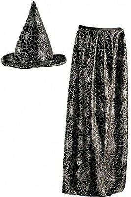 Kids Witch/ Wizard Hat And Cape Set- Black And Metallic Spider Web Design