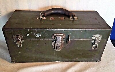 Vintage WWII era US Army olive green Mechanic TOOLBOX Chest Leather handle M5 ?