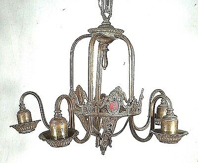 Antique Victorian Art Nouveau Patinated Metal Serpentine Arm 5 Light Chandelier
