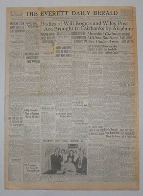 WILL ROGERS & WILEY POST Bodies Brought to Fairbanks , 1935 Original Newspaper