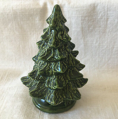 "Ceramic Christmas Pine Tree for Holiday Village 4.5"" tall VTG 80's Green"