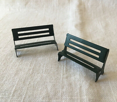 "2 Tiny Metal Green Park Benches for Holiday Village 1.75"" long VTG 80's"