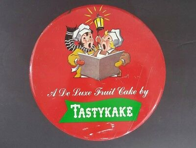 Vintage Tastycake Holiday Fruitcake Tin 1950's Red