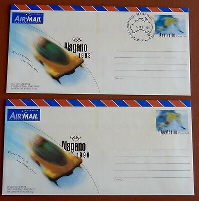 Nagano 1998 Winter Olympics : Pre Stamped Envelope - Mint and 1st Day Issue pair