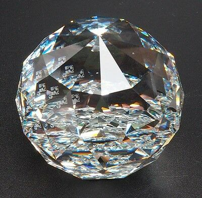Swarovski Round Ball Paperweight Crystal Cal Block Logo 7404 060 095 With Box