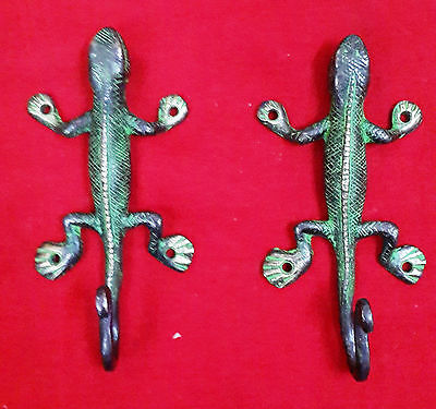 Vintage Style Pair Of Brass Lizard Hook Bathroom Clothes Hanger Key Holder BM311