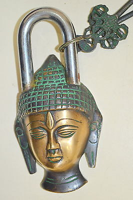 Antique Vintage style Lord Buddha Face Brass Padlock with 2 keys work well BM150