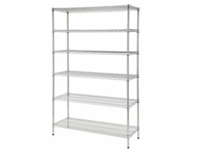 Decorative Wire Chrome Heavy Duty Shelving Unit features adjustable shelves NSF