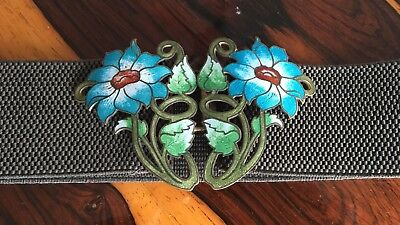 Antique Art Nouveau Guilloche Enamel Gilt Metal Flower Belt Buckle
