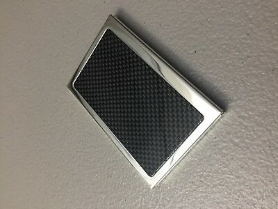 Carbon Fiber And Stainless Business Card Holder Hard Case