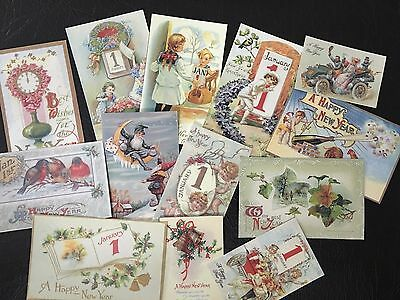 BB50 Lot of 13 Vintage NEW YEAR GREETING CARD DIE CUTS 4 CARD MAKING Free Ship