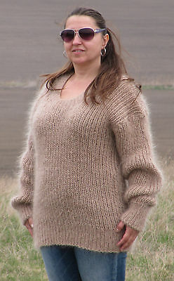 MOHAIR Hand Knitted Sweater BEIGE Ribbed Fluffy Fuzzy Pullover Unisex Handmade