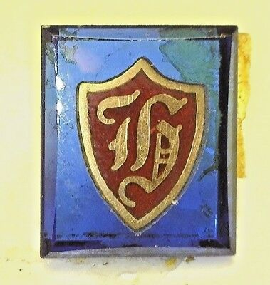 NOS Antique Vintage Deco Blue Rectangle Stone w/ Initial H Old English #B2