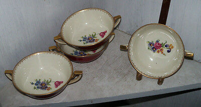 4 Vintage Royal Bayreuth ARDALT Maroon Cream Soup Bowls Handled Nappy