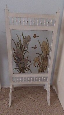 Pick-Up Only Vintage Fireplace Screen Handpainted Glass & White Wood