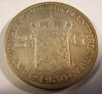 1930 Netherlands 2 1/2 Gulden Silver Coin