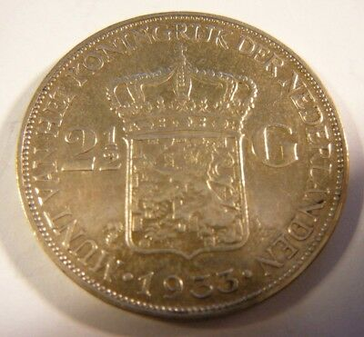 1933 Netherlands 2 1/2 Gulden Silver Coin