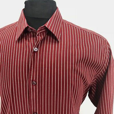 BRIONI Italy Mens Large Red & Gray Striped Shirt - Lightly Textured -17 1/2 x 35