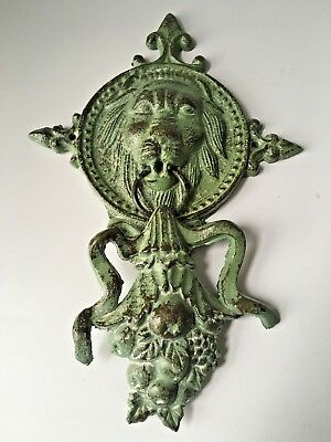 Cast Iron Majestic Rustic LION HEAD Door Knocker green Finish
