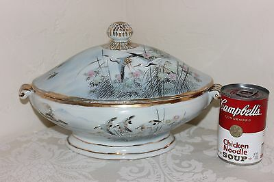 Beautiful Hand Painted Porcelain Casserole, Herons and Blue Birds in Flight,Vntg