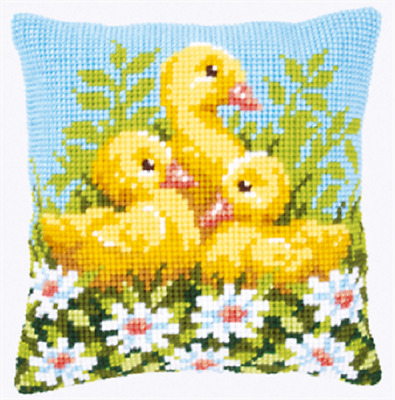 Ducklings  - Large Holed Printed Tapestry Canvas Cushion Kit Chunky Cross Stitch