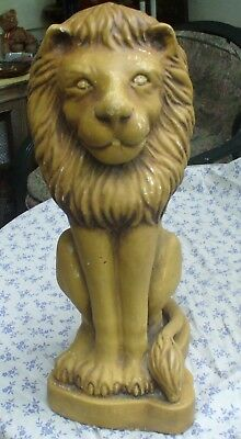 Antique Yellow Concrete Garden Lion ~ Very Detailed