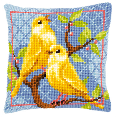 Canaries - Large Holed Printed Tapestry Canvas Cushion Kit/Chunky Cross Stitch