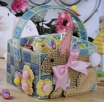 Baby Bunny Basket Easter PLASTIC CANVAS PATTERN