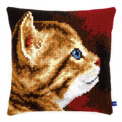 Kitten  - Large Holed Printed Tapestry Canvas Cushion Kit/Chunky Cross Stitch