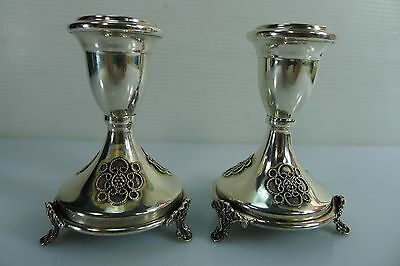 Pair Of Vintage Small Stunning 71 Grams Silver 925 Candle Stick Holders