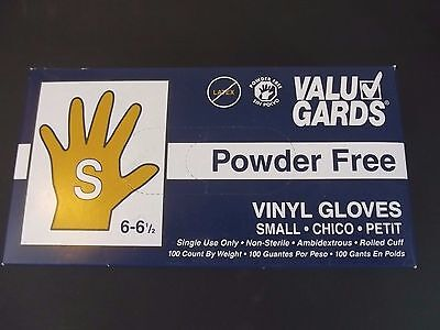 Valu Gards Vinyl Gloves Powder Free No Latex Size Small 6 to 6 1/2 Box of 100