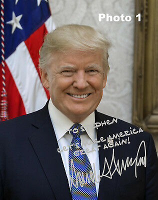 Customized President Donald Trump Silver Autographed 8x10 Photo - FREE SHIPPING!