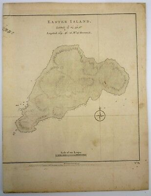 MAP OF EASTER ISLAND from 1777 Captain James Cook Voyage South (Robinson Crusoe)