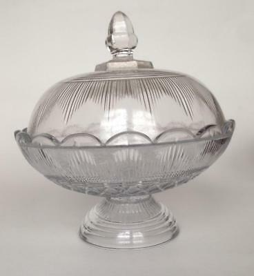 """Hamilton COVERED COMPOTE  6"""" tall Clear Flint Glass EAPG Cape Cod Sandwich 1860s"""