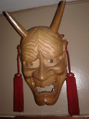 Wooden Japanese ONI Mask Noh Kagura Demon