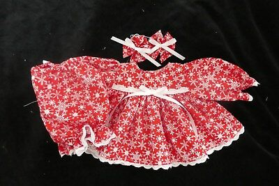 "16"" Cabbage Patch Doll Clothes Only Snowflakes On Red Dress Bloomers & Bows"