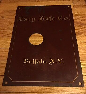 Beautiful Antique Cary Safe Co. Inside Inner Door Plate Panel Man Cave Sign