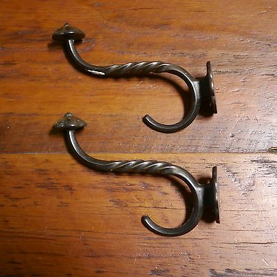 Pair Antique Cast Iron Twist Large Heavy Duty Barn Robe Jacket Hat Double Hooks