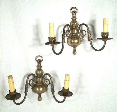 Vintage Pair Of Double Arm Classical Regency Baluster Turned Brass Sconces